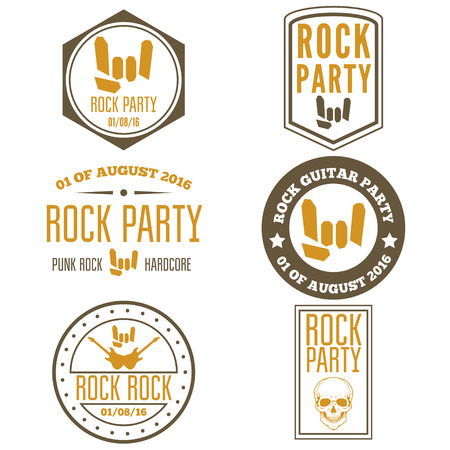パフォーマンス: Set of vintage logo or logotype elements for musical performance, rock festival or guitar party