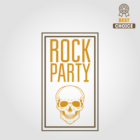 rock logo: Vintage logo or logotype elements for musical performance, rock festival or guitar party Illustration