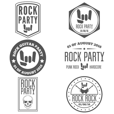 Set of vintage logo or logotype elements for musical performance, rock festival or guitar party