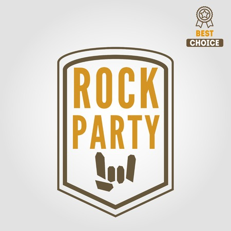 naming: Vintage logo or logotype elements for musical performance, rock festival or guitar party Illustration