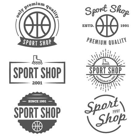 box weight: Vintage logo, badge, emblem or logotype elements for sport shop