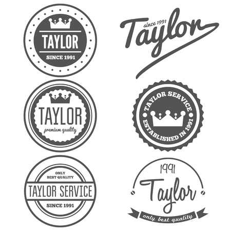 taylor: Set of vintage logo or logotype elements for taylor