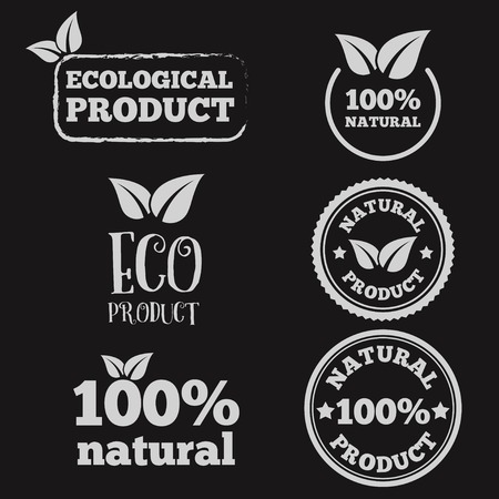 business products: Logo or logotype elements with leafs for web, business or natural products