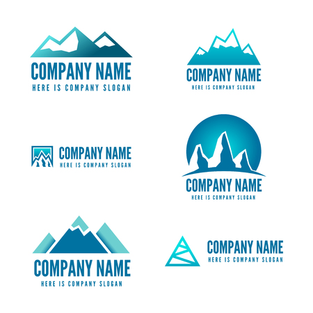 Logo or logotype elements with mountains for web, business or other projects Stock Illustratie