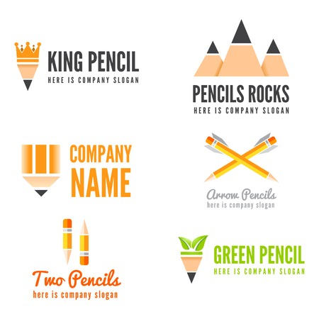education technology: Logo or logotype elements with pencil for web, business or other projects Illustration