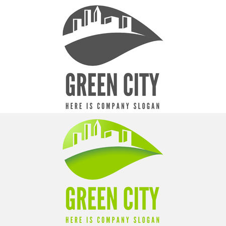 business buildings: Logo or logotype elements with buildings for web, business or other projects