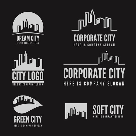 Logo or logotype elements with buildings for web, business or other projects