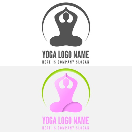 fitness logo: Logo or logotype elements with pose for web, business, yoga, fitness or other projects