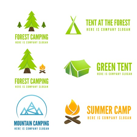 camping tent: Set of modern camp logo and logotype elements for camping, web, business or other projects