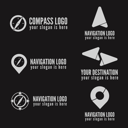 Set of logo or logotype elements for navigation, map, web, business compass and other design Stock Illustratie