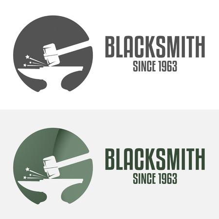 artesano: Conjunto de la insignia y logotipo elementos de herrería