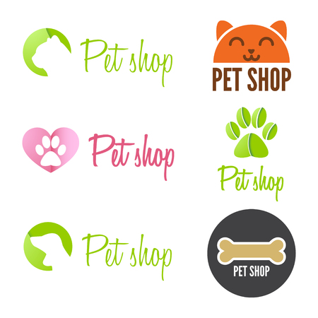 Set of vintage and modern logo and elements for pet shop, pet house and pet clinic