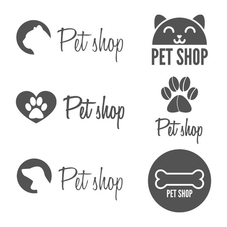 pets: Set of vintage and modern logo and elements for pet shop, pet house and pet clinic