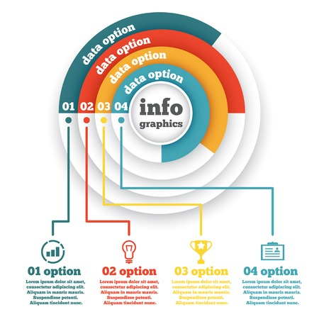 Business circle infographic, diagram, presentation four steps Çizim