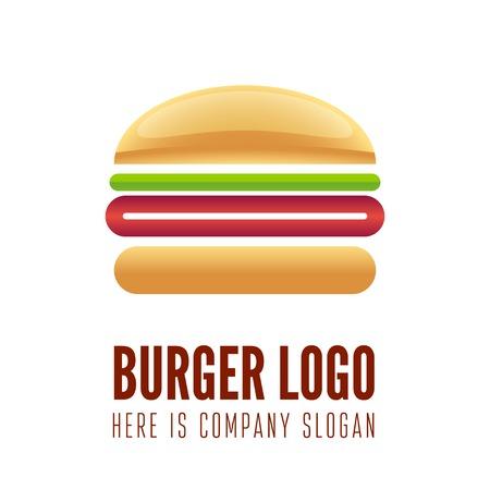 dinner food: Logo o logotipo elemento para el restaurante de comida r�pida, cafeter�a, hamburguesa y hamburguesa