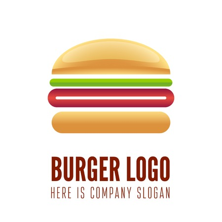 food illustrations: Logo or logotype element for fast food restaurant, cafe, hamburger and burger Illustration