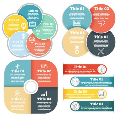 circular: Set of business circle infographic, diagram or presentation different steps