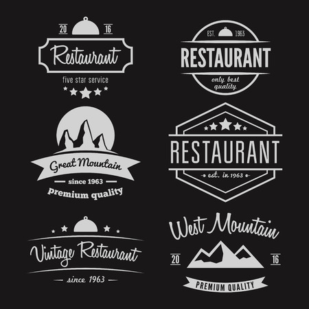 Set of different logo and logotype elements for restaurant, cafe, cafeteria, bar or company
