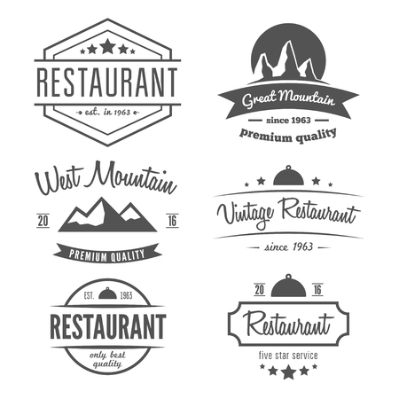 vintage banner: Set of different elements for restaurant, cafe, cafeteria, bar or company Illustration
