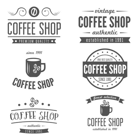 vintage cafe: Vintage labels, emblems, and templates of coffee shop, cafe, cafeteria, bar or restaurant