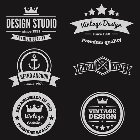 old style lettering: Vintage Insignias or set. Vector design elements, business signs, , identity, labels, badges and objects