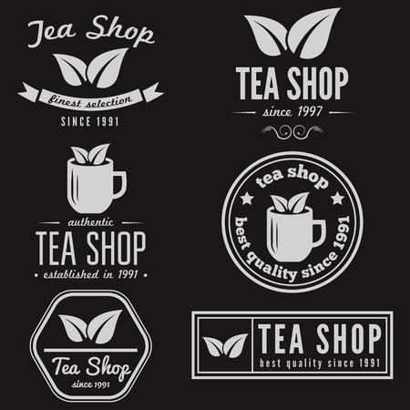 latte coffee: Vintage labels, emblems, and templates of coffee shop, tea shop, cafe, cafeteria, bar or restaurant