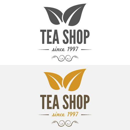 feuilles arbres: Étiquettes vintages, emblèmes, et les modèles de café, salon de thé, café, cafétéria, bar ou restaurant