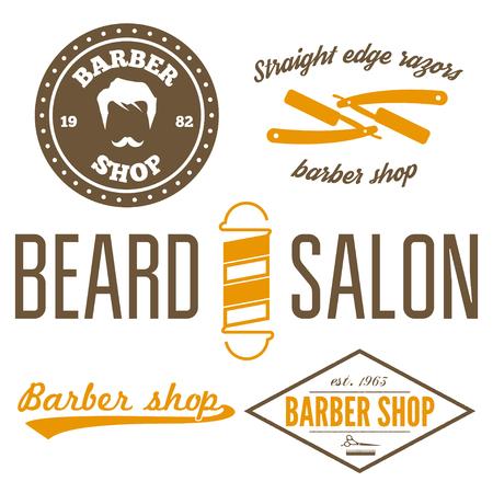 groomed: Set of vintage barber shop and design element