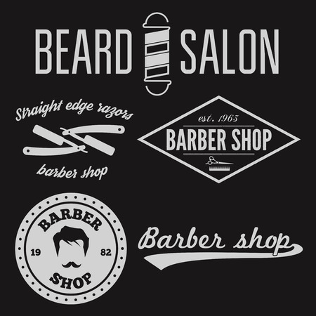 barber: Set of vintage barber shop  and design element