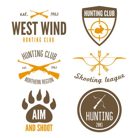 Set of logo or logotype elements for hunting club, shooting club
