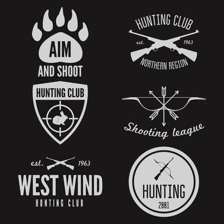 seal gun: Set of logo or logotype elements for hunting club, shooting club