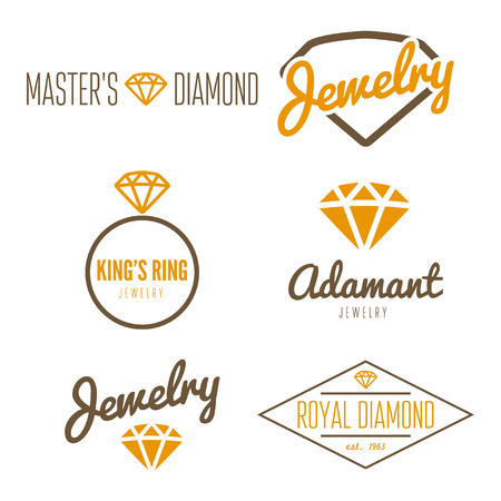 Set of logo or logotype elements for jewelry