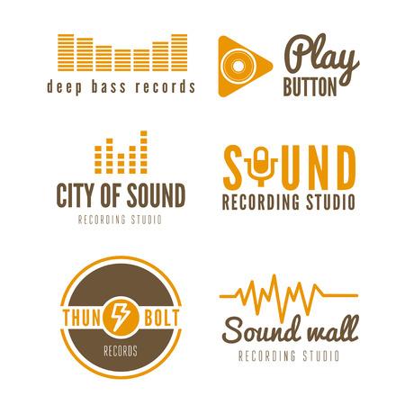 sonido: Conjunto de la insignia y logotipo elementos de estudio de grabación o producción de sonido