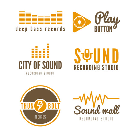 recording: Set of logo and logotype elements for recording studio or sound production