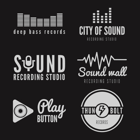 music symbols: Set of logo and logotype elements for recording studio or sound production