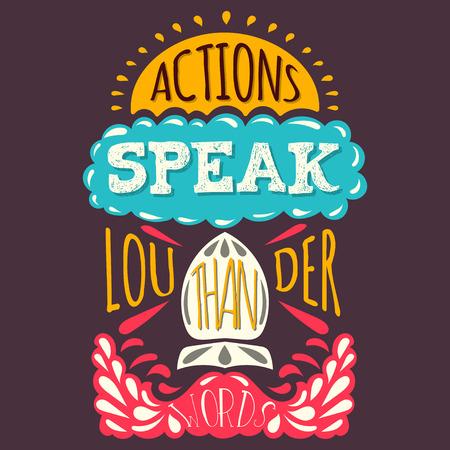 accion: Vector moderno dibujado a mano ilustración inconformista con las acciones de frases hablan más que las palabras