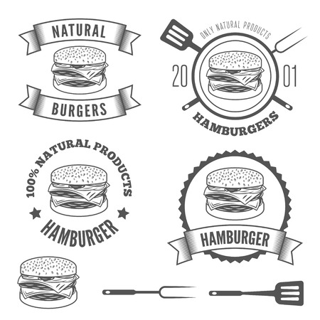 logos restaurantes: Conjunto de logotipo, etiquetas, pegatinas y elementos Logotipo para restaurante de comida r�pida, cafeter�a, hamburguesa y hamburguesa Vectores