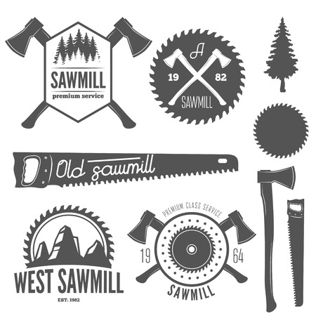 herramientas de carpinteria: Conjunto de logotipo, etiquetas, escudos y logotipo elementos para aserradero, carpinter�a y trabajadores de la madera Vectores