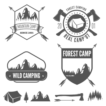 boy scouts tent: Set of vintage mountains and forest camp badges and travel label, badge, logo emblems
