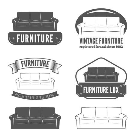 couches: Set of vintage badge,emblem and logotype elements for furniture shop Illustration