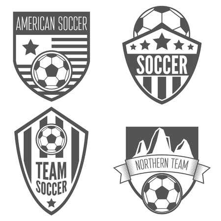 footballs: Collection of vintage soccer football labels, emblem and logo designs