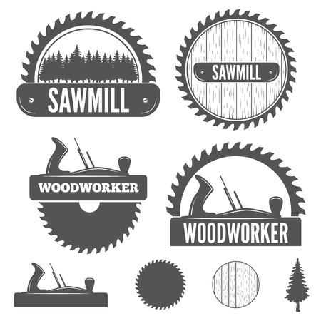 planos electricos: Conjunto de logotipo, etiquetas, escudos y logotipo elementos para aserradero, carpintería y trabajadores de la madera Vectores