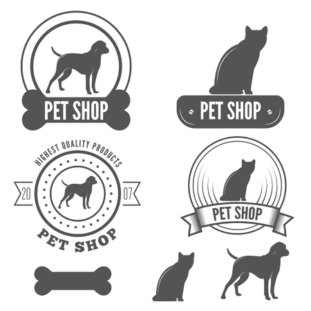 pet services: Set of vintage logo and logotype elements for pet shop, pet house, grooming and pet clinic