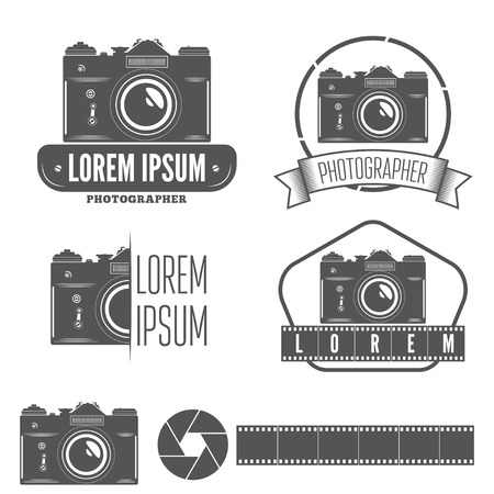 photo equipment: Set of logo, emblem, label or elements for studio or photographer, photograph Illustration