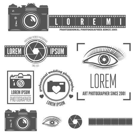 Set of logo, emblem, label or elements for studio or photographer, photograph Stock Illustratie