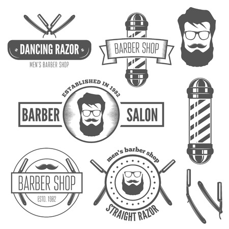 straight razor: Set of vintage logo, badge, emblem or logotype elements for barber shop and salon