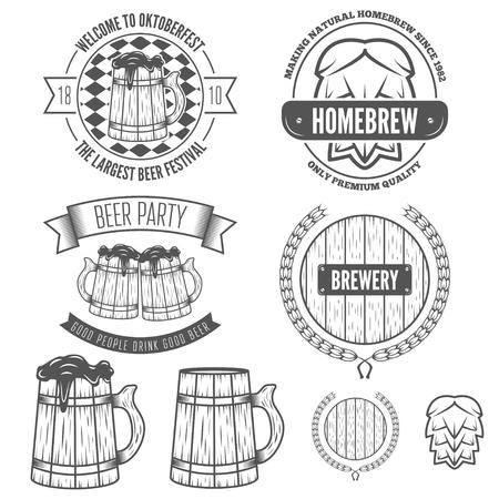 brew: Set of vintage logo, badge, emblem or logotype elements for beer, beer shop, oktoberfest, home brew, tavern, bar, cafe and restaurant