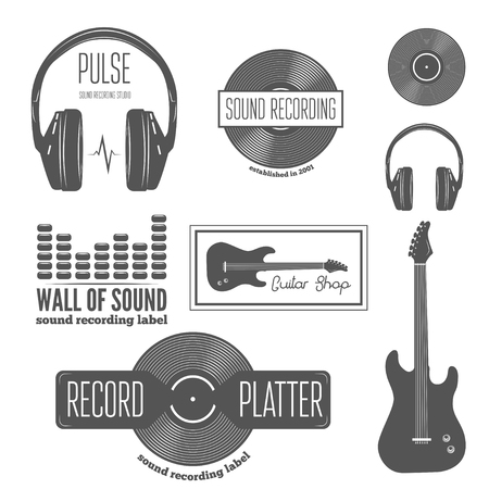 recording studio: Set of badge, label, sticker, emblem, print and elements for sound recording studio, shirt or sound production