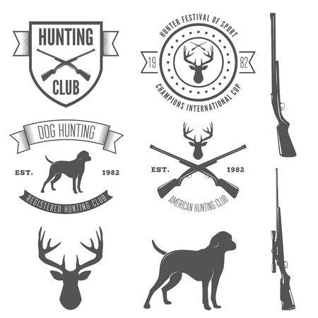 guns: Set of vintage logo, badge, emblem or logotype elements for hunting club and gun shop