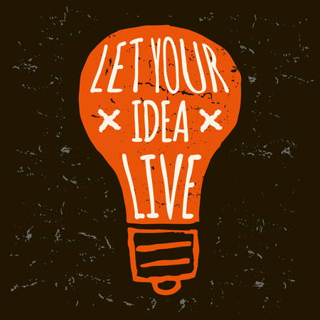 lightbulb: Vector doodle lightbulb, orange conceptual print on black background